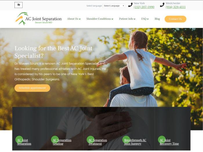 AC Joint separation website screenshot